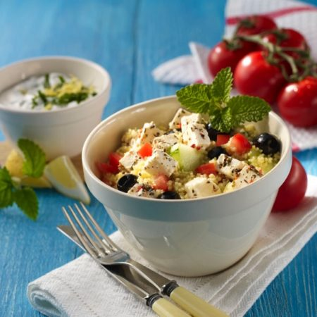 Couscous-Salat mit Salakis Schafkäse